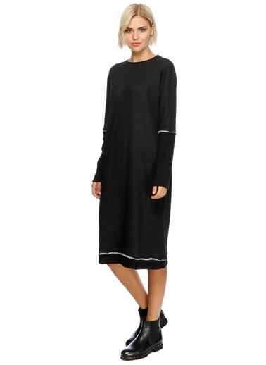 Uzun Kollu Düz Elbise-Black Pepper